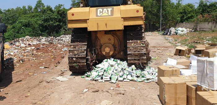 Tiêu hủy hơn 5.300 hộp sữa bột Omega 369 Q10 Alaska giả