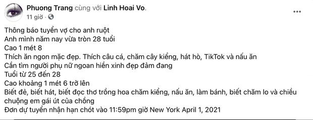 """Em ruột NS Hoài Linh bỗng mở hội tuyển vợ cho anh, """"yêu cầu"""" chị dâu cao trên 1m6, biết đẻ, biết hát và 7749 tài lẻ khác"""