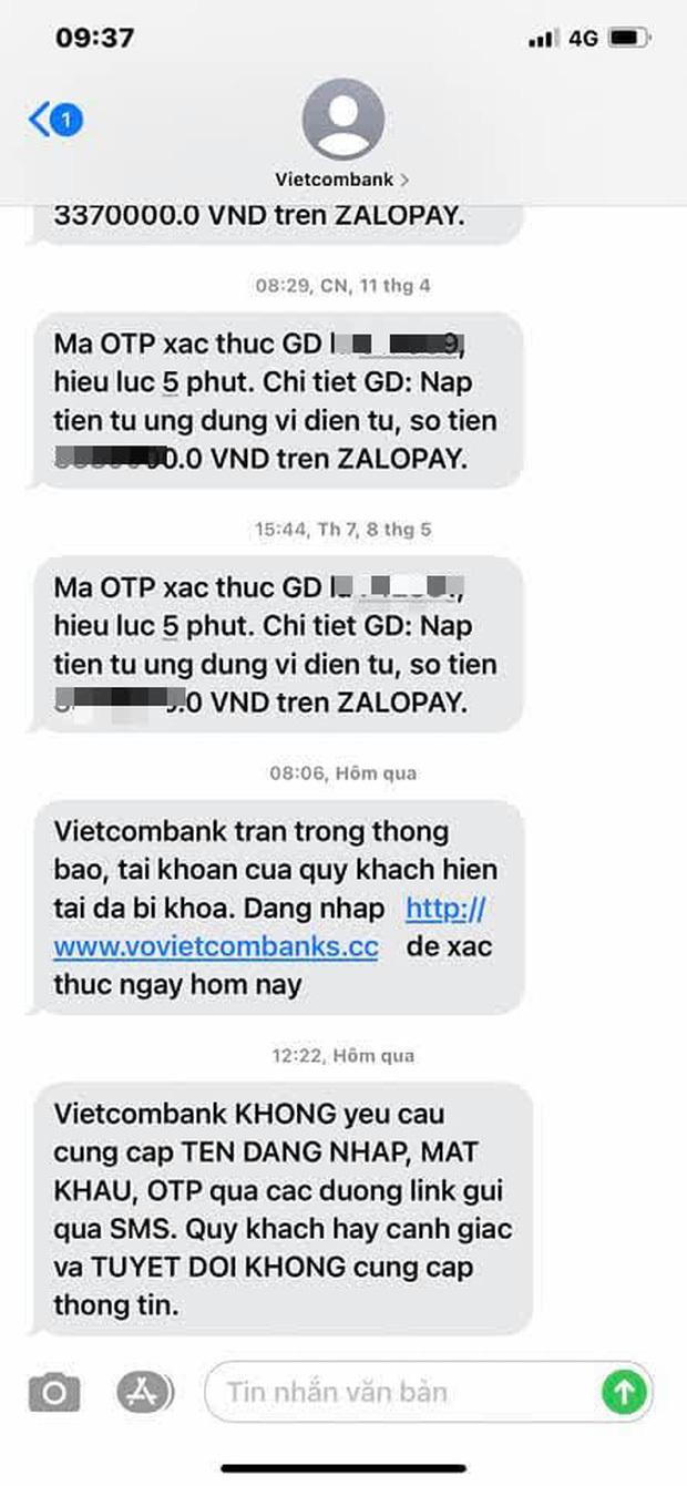 Người dùng nhận nhiều tin nhắn lừa đảo giả mạo Vietcombank