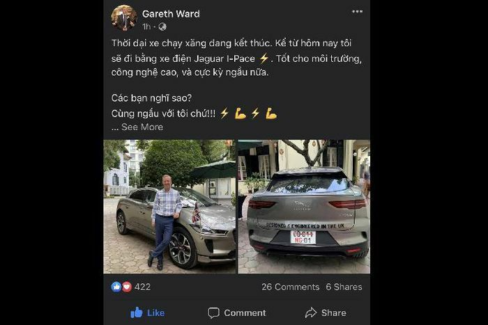 """Đại sứ Anh tại Việt Nam """"check in"""" bên Jaguar i-Pace chạy điện"""