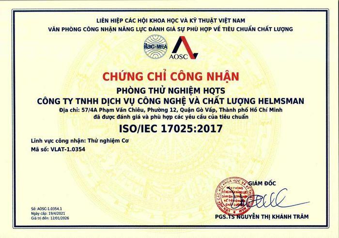 Phòng thử nghiệm HQTS Việt Nam được nhận chứng chỉ ISO17025