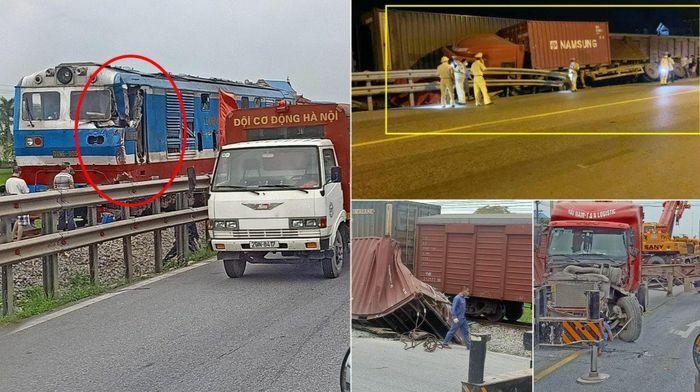 """Xe container """"ngả"""" cạnh đường ray bị tàu hỏa chạy tới tông trúng"""