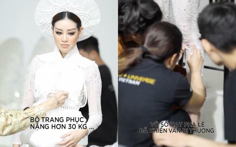 Khánh Vân bầm dập vì trang phục 'Kén Em' khiến fan lo cho đêm chung kết Miss Universe