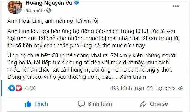 """""""Hoài Linh, anh có lòng tốt nhưng anh nên nói lời xin lỗi"""""""