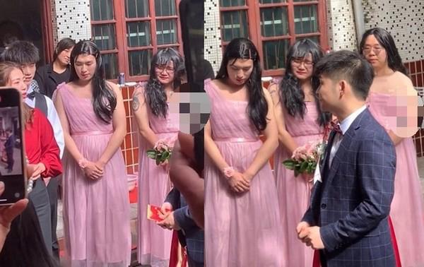 3 thanh niên mặc váy hồng làm phù dâu, nét mặt bối rối khiến dân mạng cười nắc nẻ