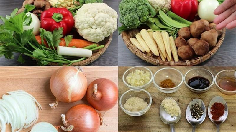 Cách làm rau củ xào thập cẩm chay tươi xanh thanh đạm cho bữa cơm