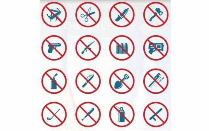 Danh mục vật phẩm cấm mang vào khu vực hạn chế và tàu bay