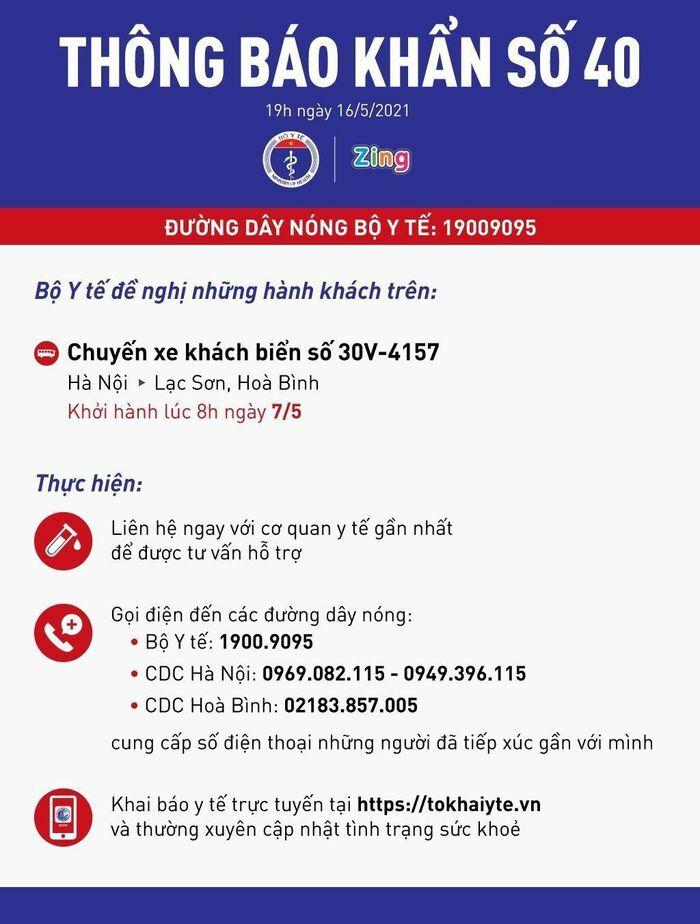 Khẩn: Bộ Y tế tìm người trên chuyến xe từ Hà Nội đến Lạc Sơn, Hòa Bình