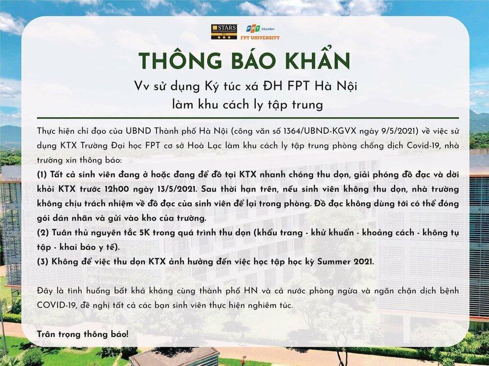ĐH FPT Hà Nội ra thông báo khẩn cho sinh viên thu dọn đồ đạc và rời khỏi KTX để làm khu cách ly tập trung