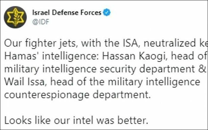 Israel hạ được 2 trùm tình báo Hamas và phá hủy nhà của 3 chỉ huy quân sự đối phương - ảnh 1