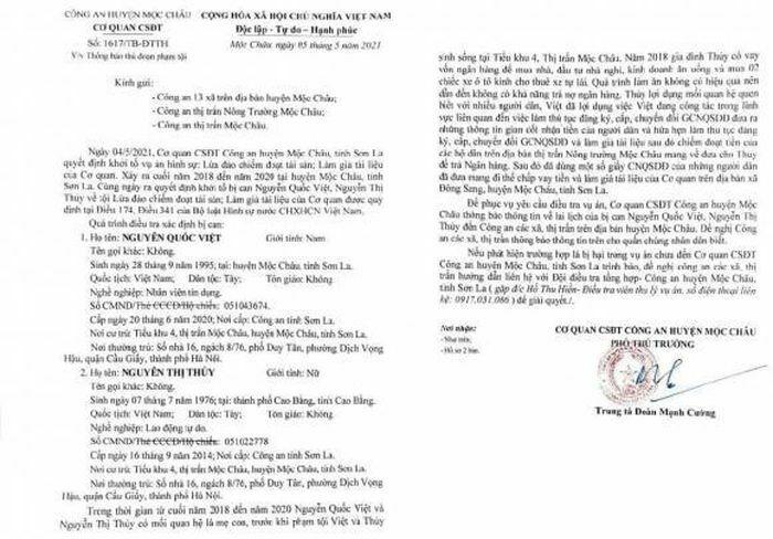 Công an huyện Mộc Châu tìm người bị hại trong vụ án lừa đảo chiếm đoạt tài sản