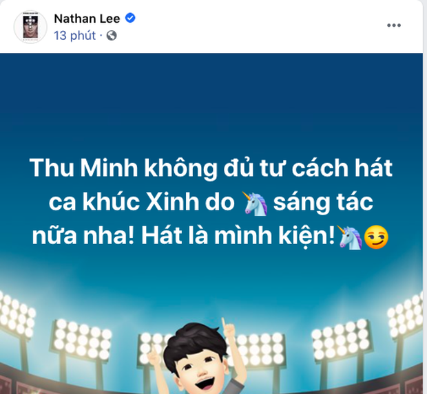 Nathan Lee tuyên bố Thu Minh không đủ tư cách hát ca khúc do mình sáng tác, còn nếu Chi Pu xin sẽ cho luôn!