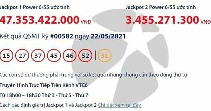 Kết quả xổ số Vietlott 22/5: Tìm người may mắn trúng giải khủng hơn 47 tỷ