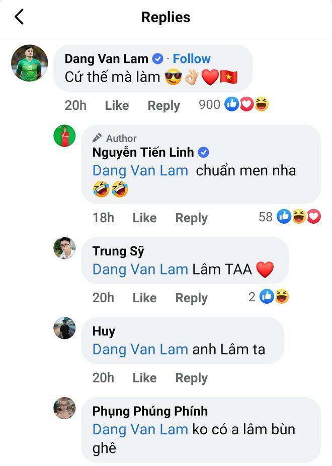 Đặng Văn Lâm bình luận Facebook Tiến Linh: Ngàn like, fan nói buồn nói nhớ - ảnh 1