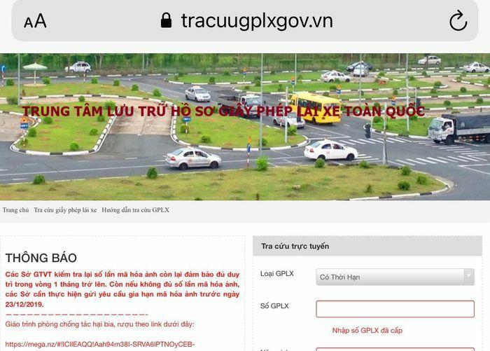 Xử lý website giả mạo trang thông tin điện tử giấy phép lái xe - ảnh 1
