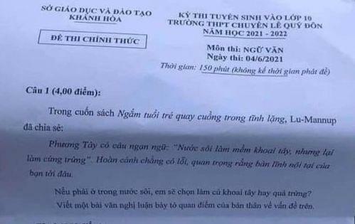 Sở Giáo dục Khánh Hoà nói gì về đề thi chuyên văn lớp 10 gây nhiều tranh cãi? - ảnh 1