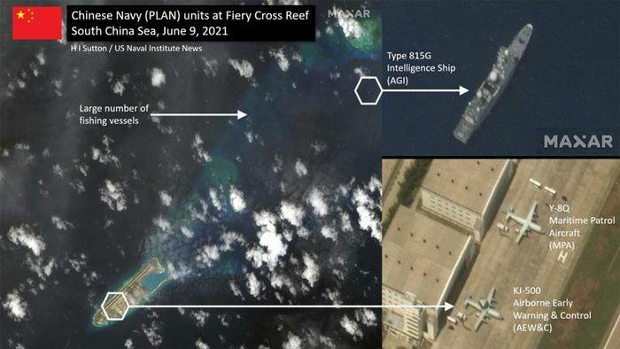 Tàu và máy bay trinh sát Trung Quốc xuất hiện ở Đá Chữ Thập - ảnh 1