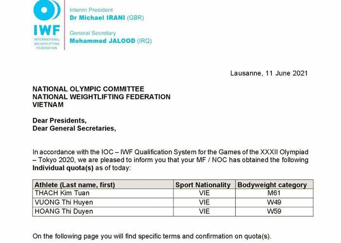 Thêm 3 suất từ cử tạ, Việt Nam giành 14 vé chính thức đến Olympic Tokyo - ảnh 1