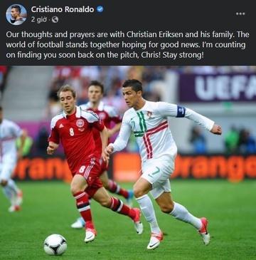 Ronaldo: 'Tôi tin Eriksen sẽ sớm trở lại sân cỏ'