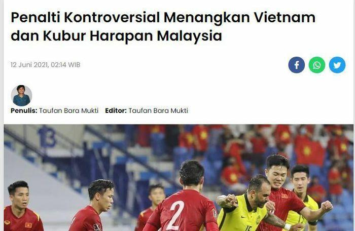 Báo Malaysia: Việt Nam thắng nhờ quả phạt đền gây tranh cãi - ảnh 1