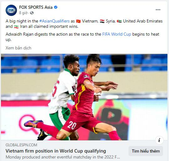 Trang bóng đá ESPN: Việt Nam củng cố vị trí vững chắc tại vòng loại World Cup ở châu Á - ảnh 1