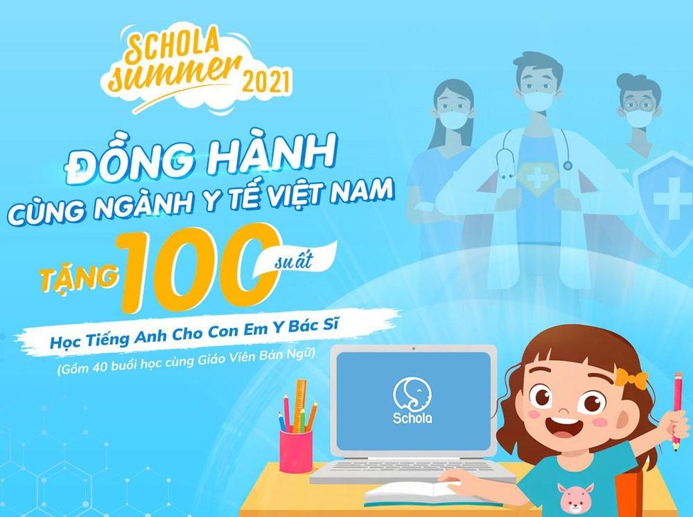 Schola tặng 100 suất học tiếng Anh trực tuyến cho con em y bác sĩ - ảnh 1