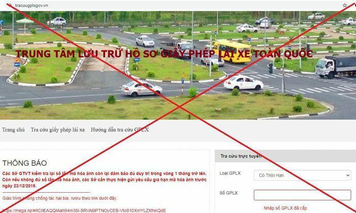 Cảnh báo: Website tracuugplxgov.vn giả mạo trang thông tin điện tử Giấy phép lái xe - ảnh 1