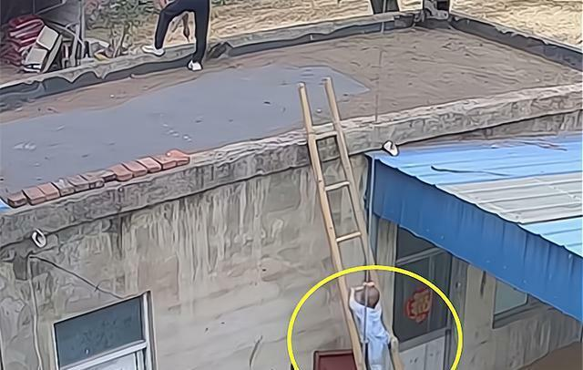 Con trai trèo thang tre theo bố lên mái nhà, trong tích tắc liền xảy ra cảnh tượng thót tim, cẩn thận khi chăm con không bao giờ là thừa
