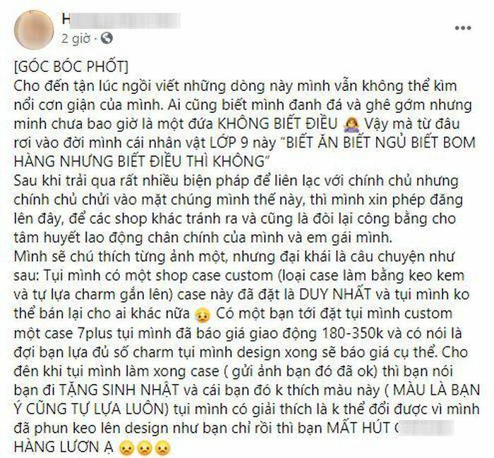Chủ shop phụ kiện online ''bóc phốt'' nữ sinh ''bom hàng'' 400K: Dọa nhờ luật sư, tìm tận nhà - ảnh 1