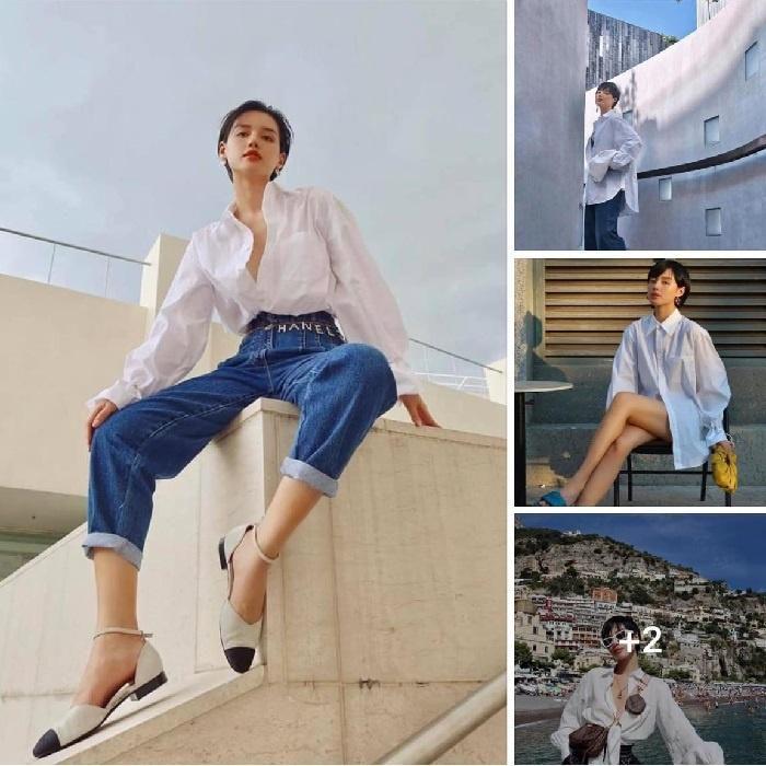 Học 'cô em trendy' Khánh Linh biến áo sơ mi trắng nhàm chán trở nên ấn tượng và 'chất chơi'