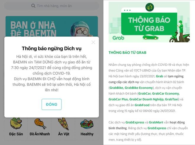 Các ứng dụng đồng loạt thông báo dừng dịch vụ giao đồ ăn tại Hà Nội - ảnh 1