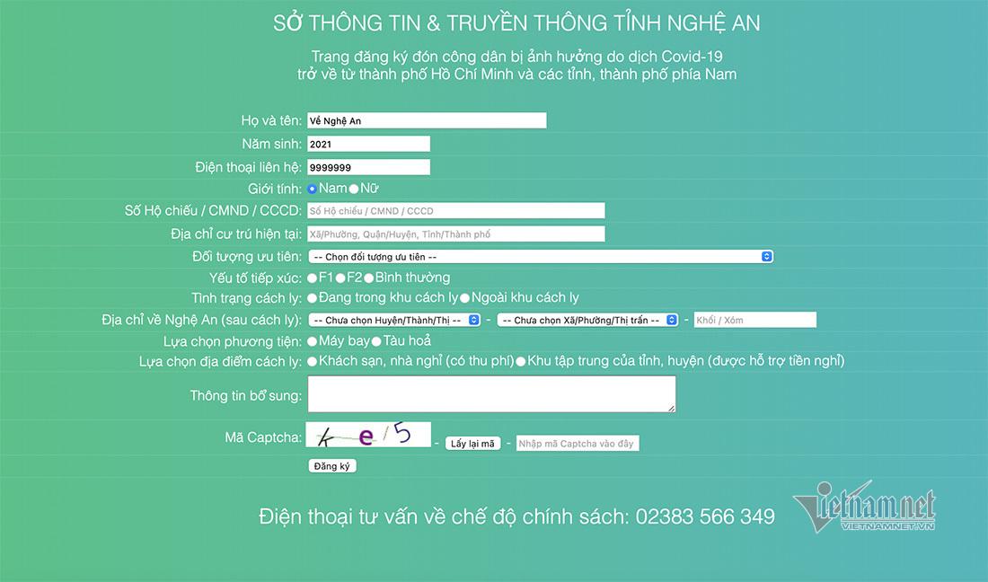 Địa chỉ đăng ký người về quê Nghệ An từ các tỉnh thành phía Nam - ảnh 1