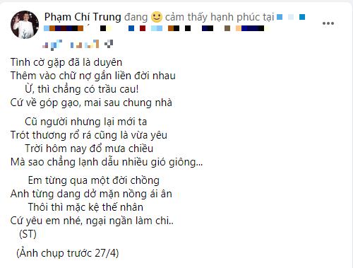 """NSƯT Chí Trung tặng thơ tình mặn nồng bạn gái đại gia kém 17 tuổi, dặn hãy """"bơ"""" thị phi mà sống"""