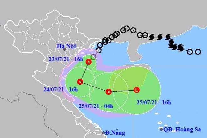 Áp thấp nhiệt đới vào vùng biển Hải Phòng đến Nam Định, nhiều nơi mưa to