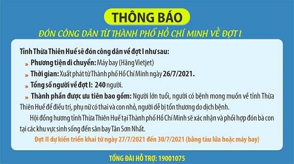 Thừa Thiên - Huế sẽ đón công dân từ TP HCM trở về bằng máy bay - ảnh 1