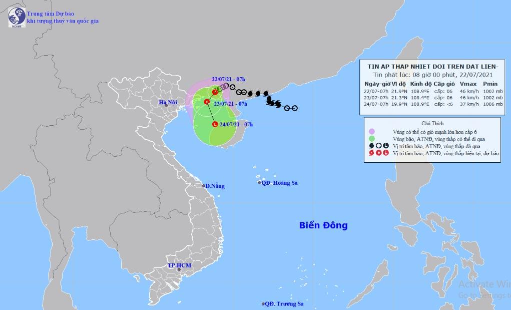Áp thấp nhiệt đới cách Quảng Ninh 110km, miền Bắc mưa to nhiều nơi