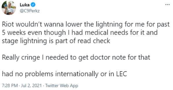 C9 Perkz tiết lộ lý do đội mũ lưỡi trai để thi đấu, LCS lại bị chỉ trích vì phớt lờ tình trạng sức khỏe của tuyển thủ