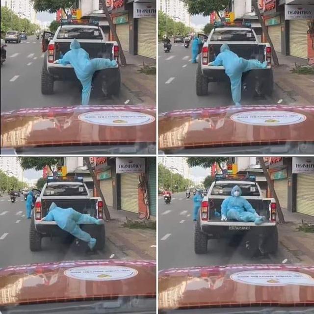 Khoảnh khắc đáng yêu mùa dịch: Nữ chiến binh ''chân ngắn'' cố trèo lên thùng xe ''cao ngất'', phải ngồi thở hổn hển cho hồi sức - ảnh 1