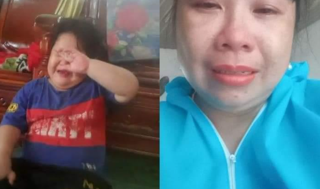 Xót xa hình ảnh bé trai mếu máo khóc khi nói chuyện qua điện thoại với mẹ đang phải cách ly