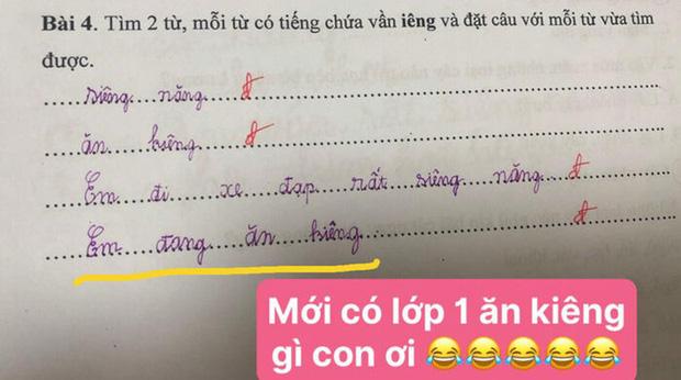 """Bài tập Tiếng Việt lớp 1 đặt câu có vần """"iêng"""", cô giáo đọc xong hạn hán lời, chịu thua với độ điệu của học trò"""