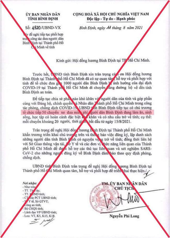 Văn bản có nội dung tỉnh Bình Định tổ chức 50 chuyến xe miễn phí đưa người dân về quê là giả mạo