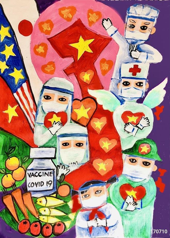 Tác phẩm từ khu cách ly của học sinh lớp 9 giành giải Nhất vẽ tranh