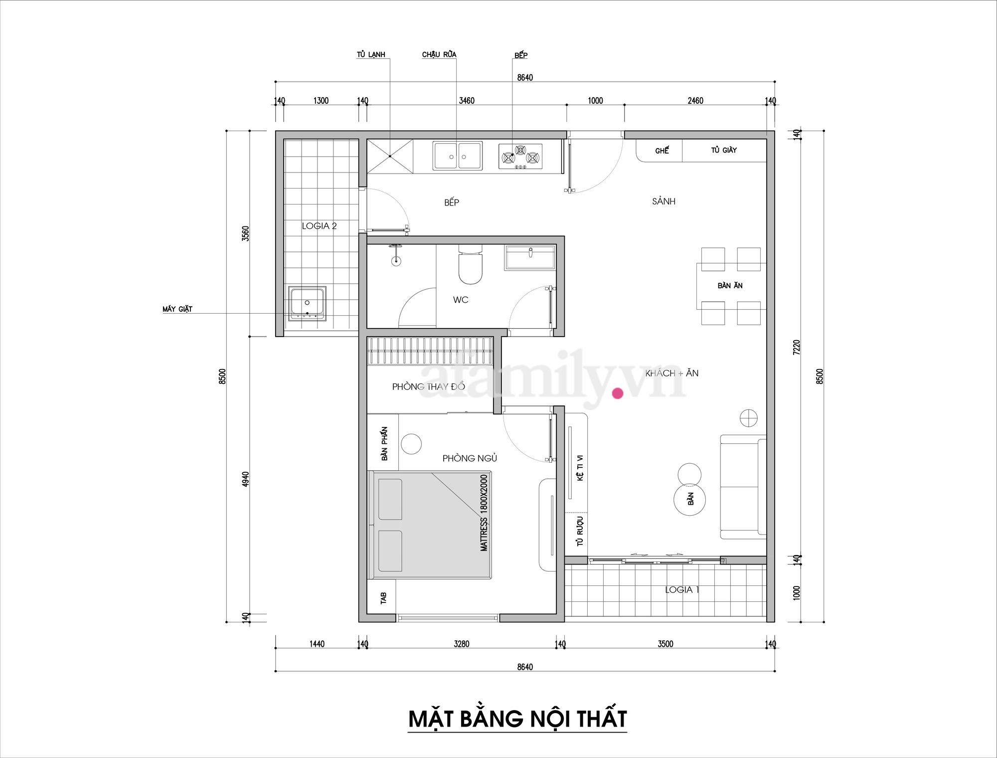 Kiến trúc sư tư vấn thiết kế căn hộ 67m² dành cho cô gái độc thân chi phí 98,3 triệu đồng