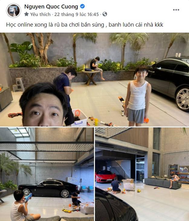 """Cưng chiều con như """"bố bỉm"""" Nguyễn Quốc Cường: Hết biến garage siêu xe thành khu vui chơi cho Suchin, giờ lại làm sân đánh trận giả cho Subeo"""