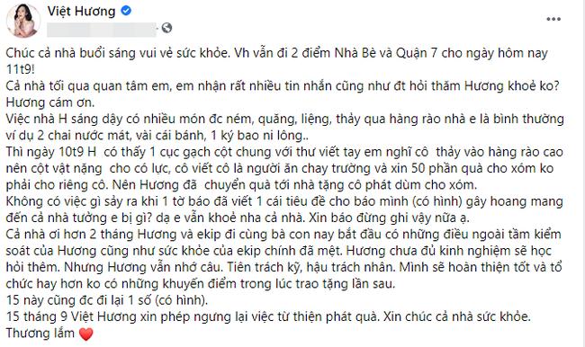 Việt Hương tuyên bố ngừng hoạt động thiện nguyện mùa dịch, nguyên nhân là gì?
