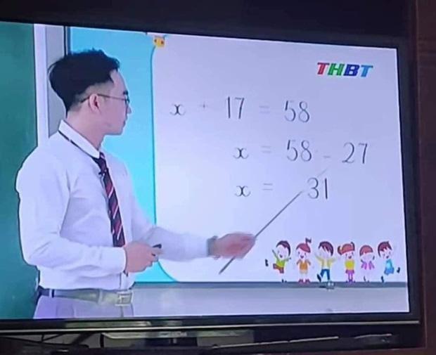 Thầy giáo giảng bài Toán lớp 3 trên truyền hình, cho ví dụ tìm X đơn giản nhưng lại ra đáp án sai vì lý do không tưởng - ảnh 1