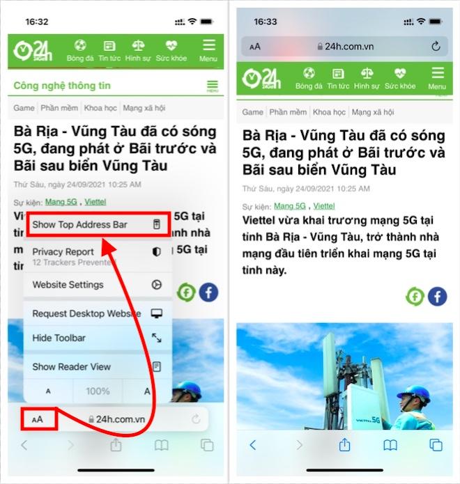 """Cách chuyển thanh địa chỉ Safari về vị trí cũ sau khi """"lên đời"""" iOS 15"""