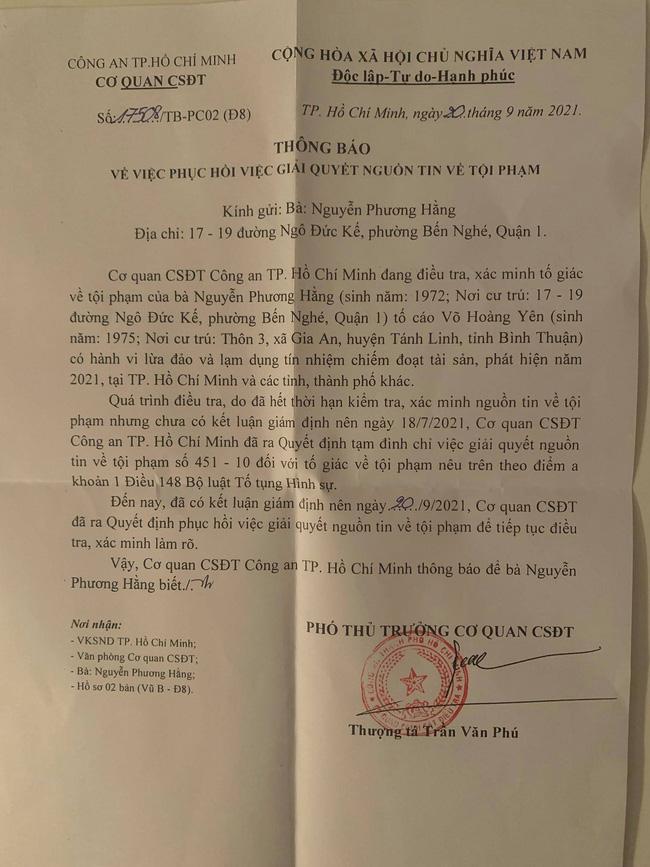 """Bà chủ Đại Nam bất ngờ đăng giấy """"phục hồi việc giải quyết nguồn tin về tội phạm"""" của Công an TP.HCM"""