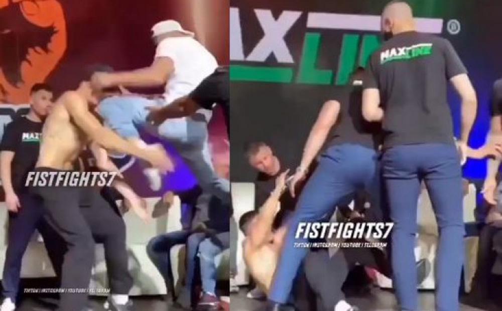 Võ sĩ tung đòn gối, hạ gục đối thủ trong buổi cân trọng lượng