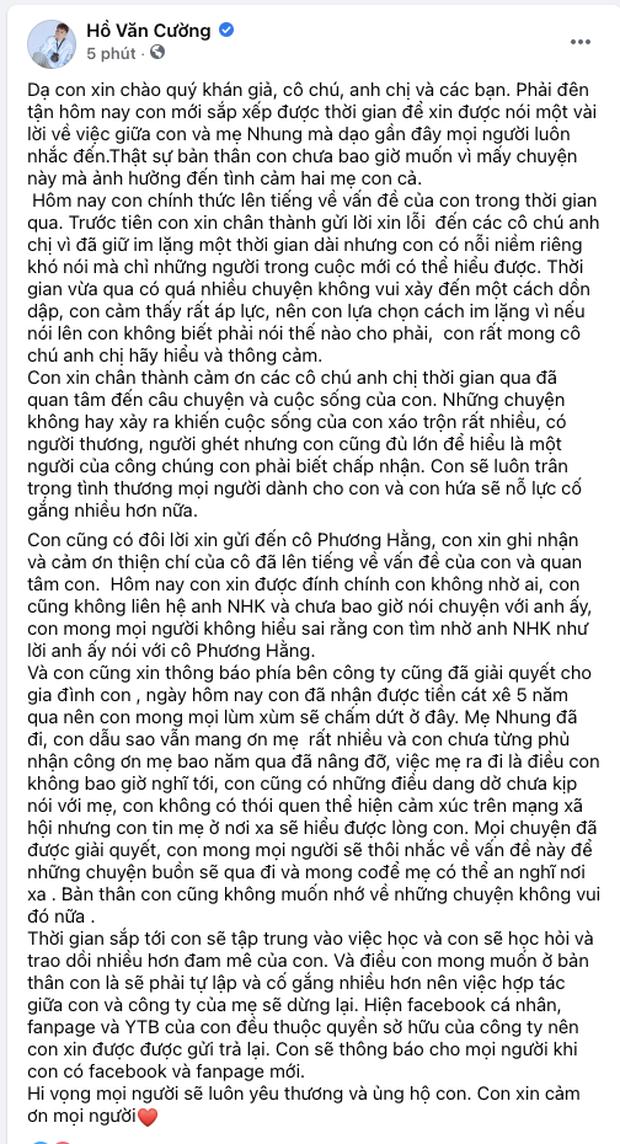 Cụ thể các khoản tiền Hồ Văn Cường nhận được khi rời khỏi nhà cố ca sĩ Phi Nhung là bao nhiêu? - ảnh 1